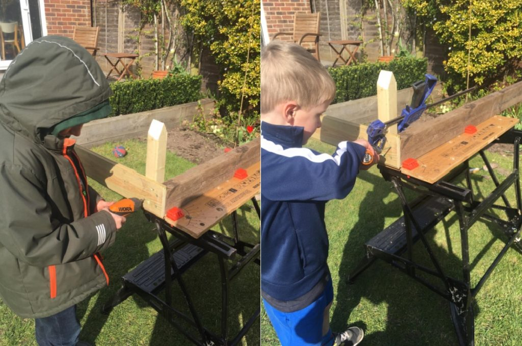 The Twidell boys celebrate National Gardening Week by helping to make a vegetable patch